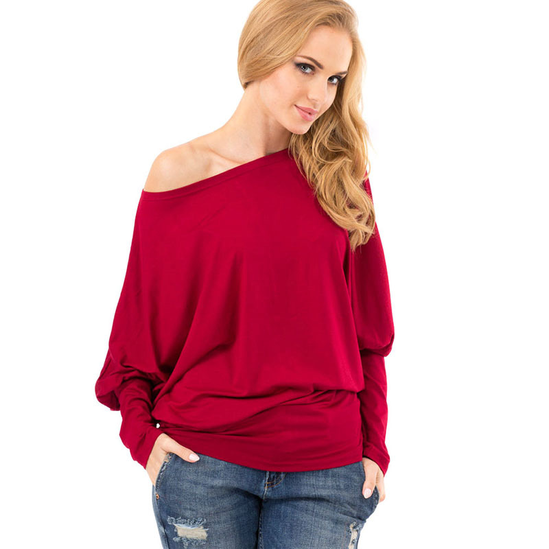 2015 Fashion Casual Cotton Loose Plus Size Tops Ladies Off