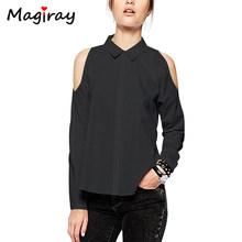 Magiray рубашка с длинным рукавом и открытыми плечами Женская белая блуза на пуговицах черная Повседневная 2019 свободная Летняя женская Топы(China)