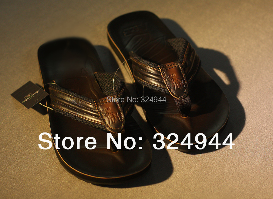 2015 new Leather slippers men's leisure beach mens flip flops men fashionable flip-flops large yard - Enjoy Market store