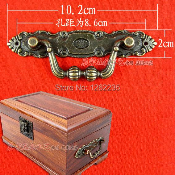 10.2 * 2cm Classical European alloy handle Antique furniture drawer wardrobe door handle small hidden Wholesale(China (Mainland))