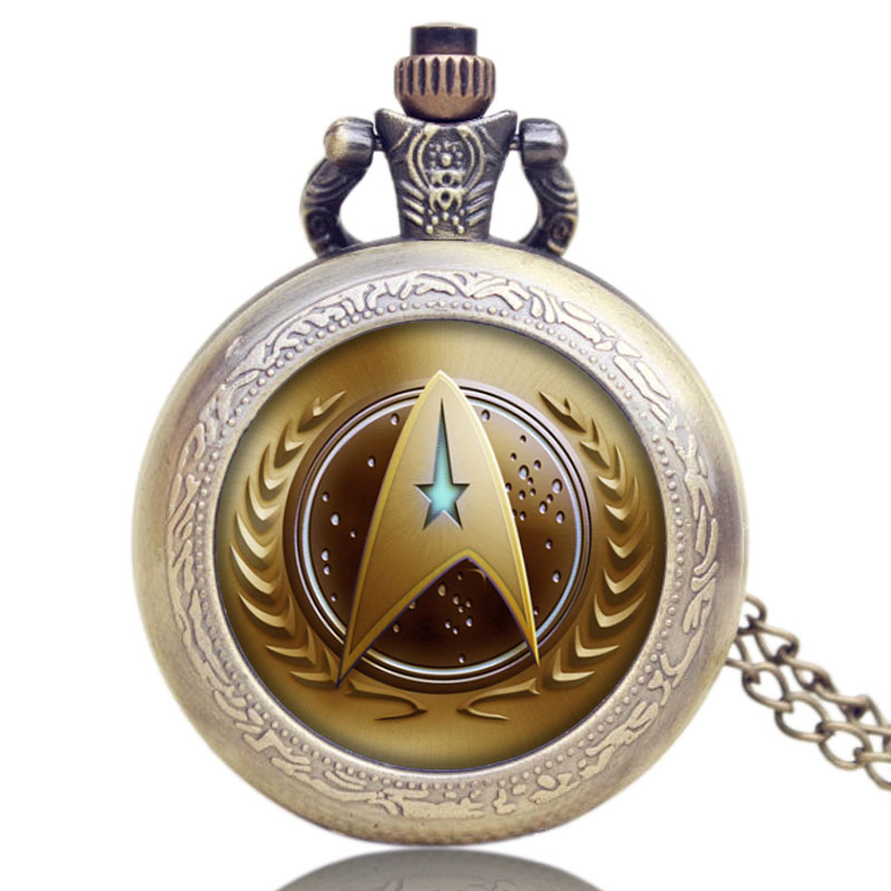 Hot Fashion Movie Theme Star Trek Golden Pocket Watch Pendant Necklace Quartz Watch Men Women Relogio De Bolso P1180(China (Mainland))