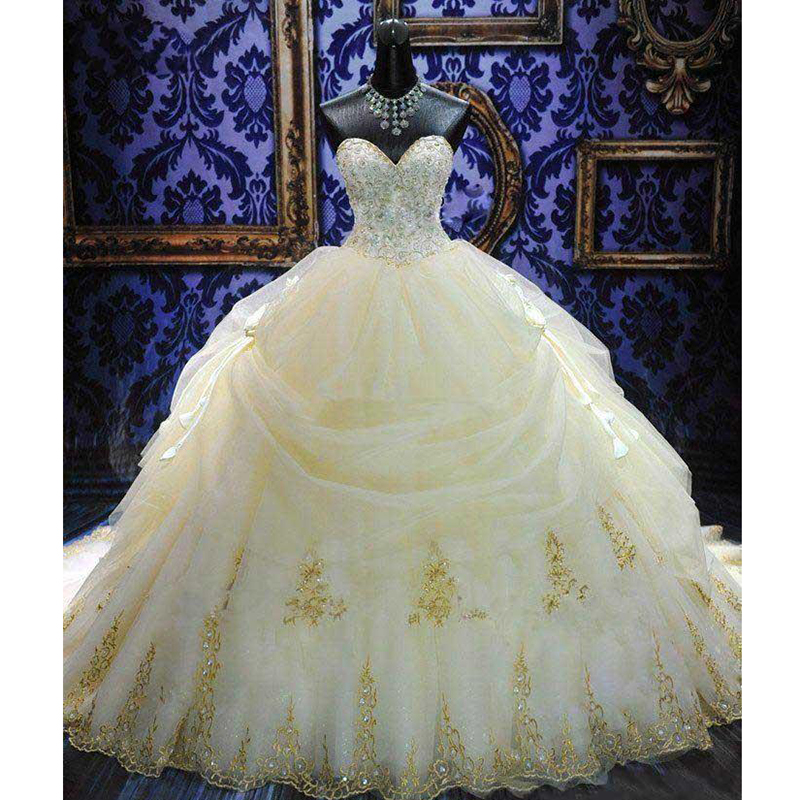 Royal Wedding Sticker Dress Up : Royal train ball gown wedding dress with embroidery beaded