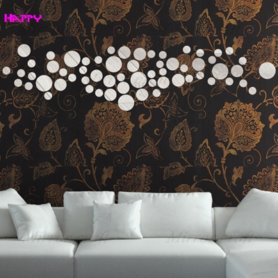 6round Mirror wall Stickers 3D living room background frame ,Home decoration mirror stickers Best Gift Free Shiipping - YIWU MIRROR CRAFT FACTORY store