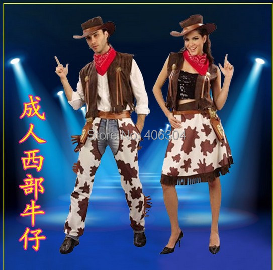 halloween costume adult men&women cosplay western male cowboy & Cowgirl costume,carnival dress clothes - HH Party Costume Store store