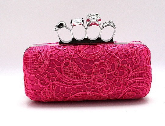 Promotion Hot Pink Women's Satin Lace Purse Bridal Wedding Party MIni Bag Skull Clutch Knuckle Rings Handbag Size19x 9 03918-8-A(China (Mainland))