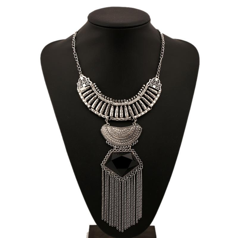 2016 new Fashion Colar choker Vintage Bohemian necklace amp pendant tassel gypsy ethnic big gem maxi Necklace Women fine jewelry(China (Mainland))