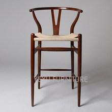seat height 76cm modern design wishbone y bar chair solid wood bar stool replica hans wegner