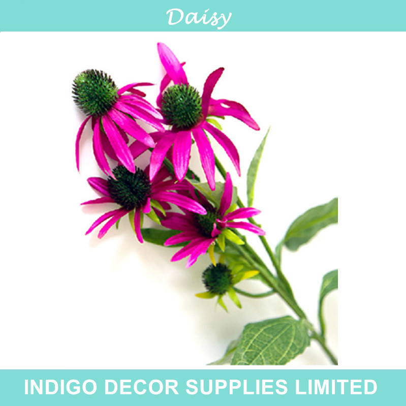 4 Heads Pink Daisy Sunflower Artificial Silk Fake Flower Wedding Home Decorative Event - Indigo Decor Supplies Limited store