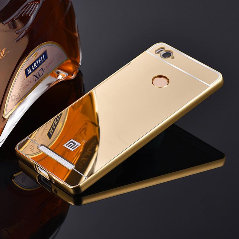 Xiaomi redmi 3 pro 3s mirror back cover case amp aluminum metal frame