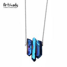 Artilady 3 шт. ожерелье серебряная цепочка кварцевый камень ожерелье женщины ювелирные изделия QM(China (Mainland))