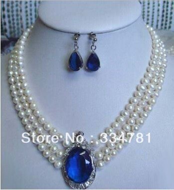 Fashion Hot Beautiful Jewelry Sets Genuine 3 rows 7-8mm white pearl blue crystal Necklace earring set - jiagen chen's store