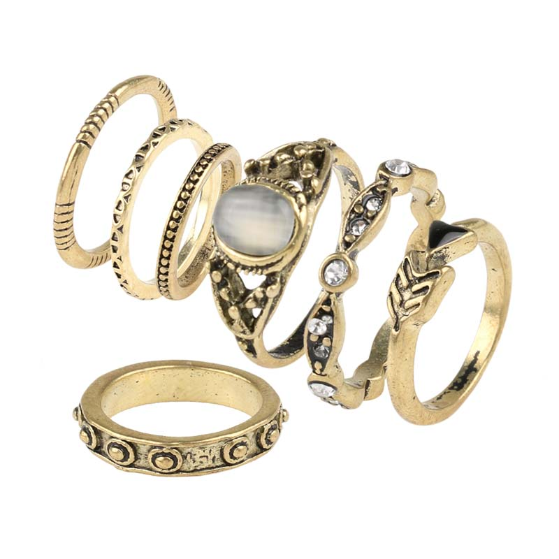 Fashion vintage opal midi rings set antique gold plated Vintage style fashion rings