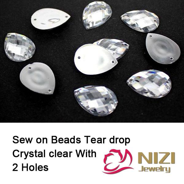 Taiwan Acrylic Beads 10X14mm 13x18mm 18x25mm Flatback Tear Drop Crystal Clear Beads Sew On Buttons For Wedding Dress DIY Beads <br><br>Aliexpress