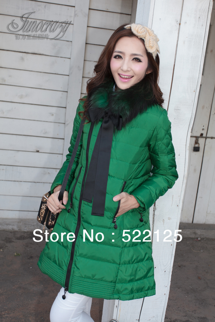 2013 Faux fur lining women's winter warm long duck coat jacket clothes - Lovely Baby Products Store store