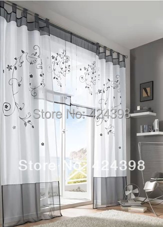 Rustic Embroidered window Curtains Tulle Window Sheer four colors 140*145cm/175/225/245/260cm - Online Store 424398 store