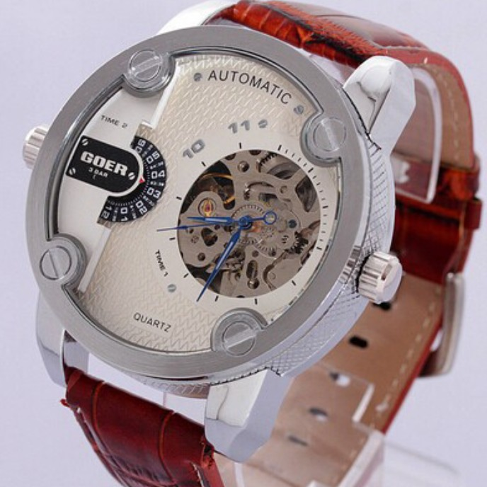 Two Times Zone Stainless Steel Case Skeleton Dial Men's Mechanical Watch Leather Strap hollow Wristwatch - Di Da store