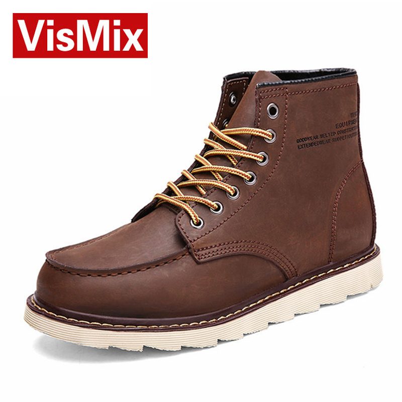 Фотография VISMIX new Men Genuine Leather  Boot Winter Windproof Warm Snow Boots Fashion Leisure Martin Boots Size 38-44