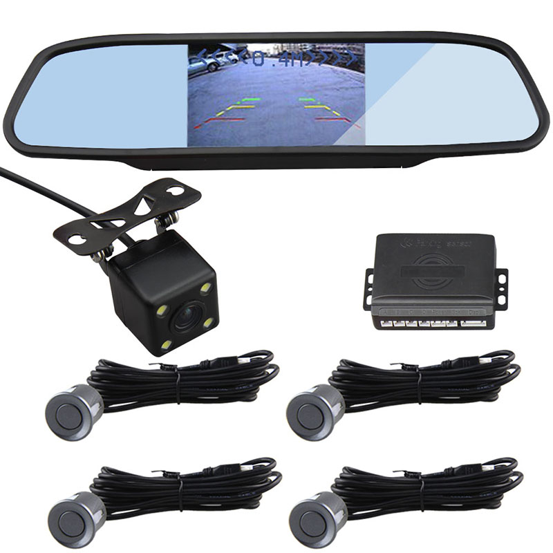 4.3 inch LCD Monitor Rear view Mirror Parking Sensor Parking Assistance with Rear view Camera Visual Video Parking Sensor System(China (Mainland))