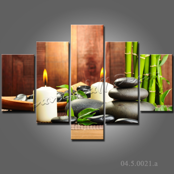 Buy 5 pieces wall art oil painting spa stone bamboo for Buy canvas wall art