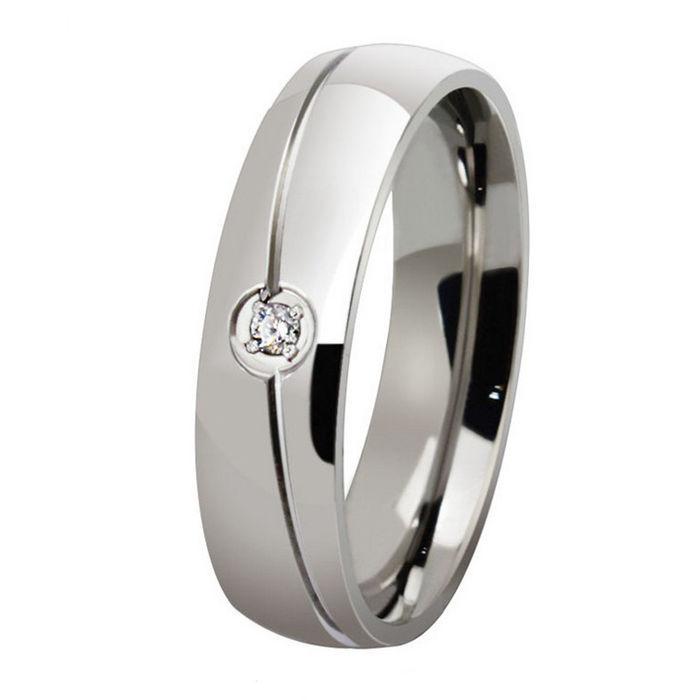 ORSA 2015 Men And Women Wedding Engagement Ring High Polished Titanium Steel Zircon Rings OTR32