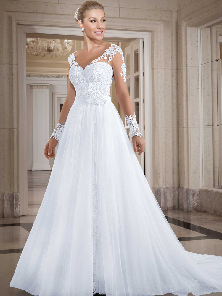 Modest detachable skirt wedding dress a line tulle long for Tulle a line wedding dress