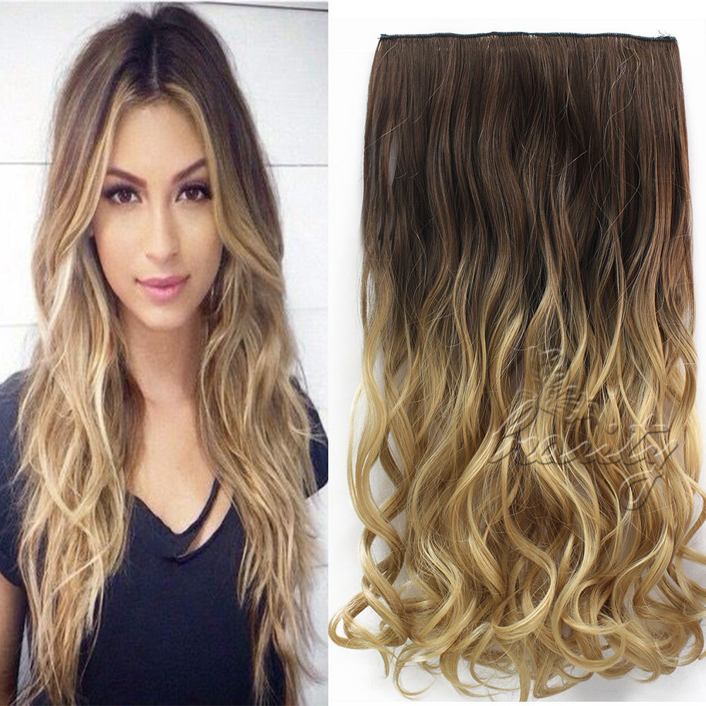 24 60cm Wavy Curly Extension 5 Clip De Cheveux Ombre Piece Hair