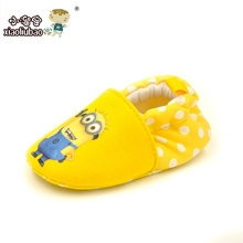 New Arrive Lovely Minions Newborn Baby Boys Girls Shoes First Walkers Cotton Toddler Shoes Baby Shoes Branded 11 12 13(China (Mainland))