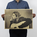 Kurt Cobain Nirvana Frontman Rock Poster Kraft Paper Bar Decorative Painting 51x35 5cm 150g Retro Paper