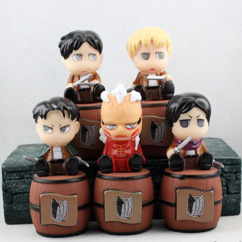 Attack On Titan Cute Figures Japanese Anime Figures 11cm Piggy Bank 5pcs Pvc Cartoon Action Figures Hot Toys Kids Gifts