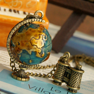 1446 fashion accessories vintage telescope travel globe necklace female