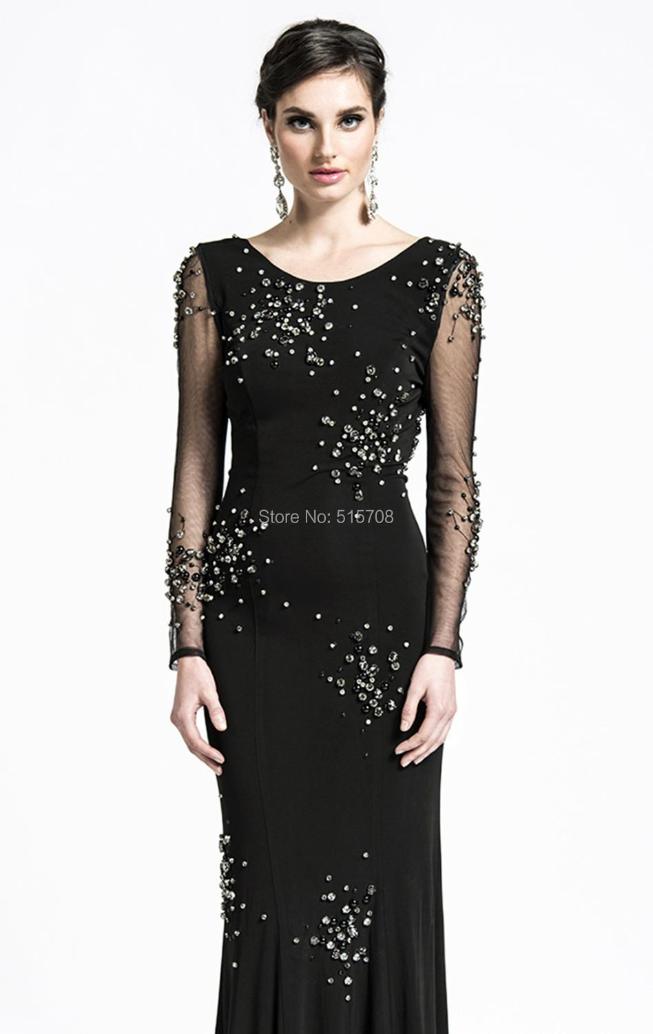 Gorgeous 2015 New Design Long Sleeve Backless Black White Shining Beads Cheap Formal Pageant Party Evening Gown Prom Dress - Shop515708 Store store