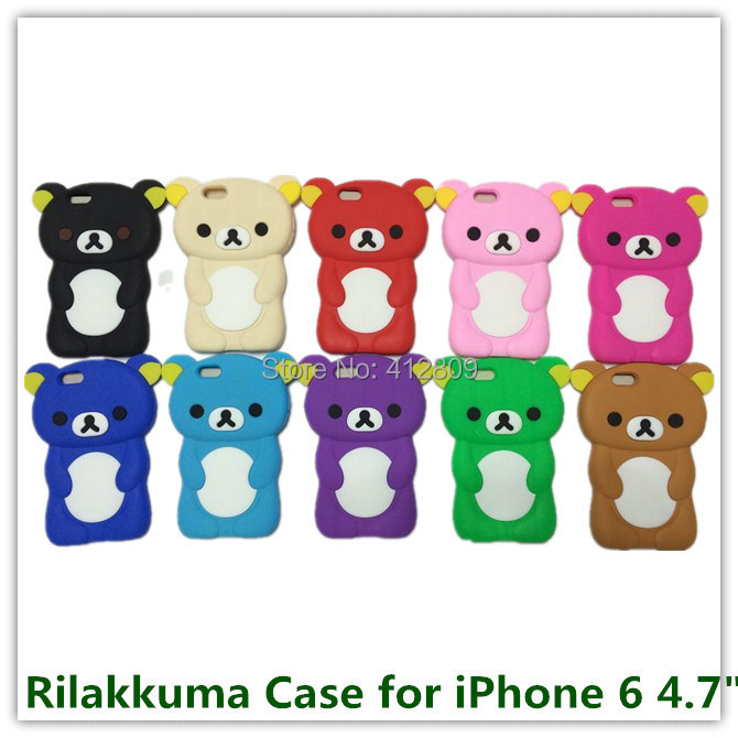 """100PCS for Apple iPhone 6 4.7"""" New Colorful Animals Pattern Rilakkuma 3D Brown Bear Cover Case for iPhone 6 Hot Sales Free(China (Mainland))"""