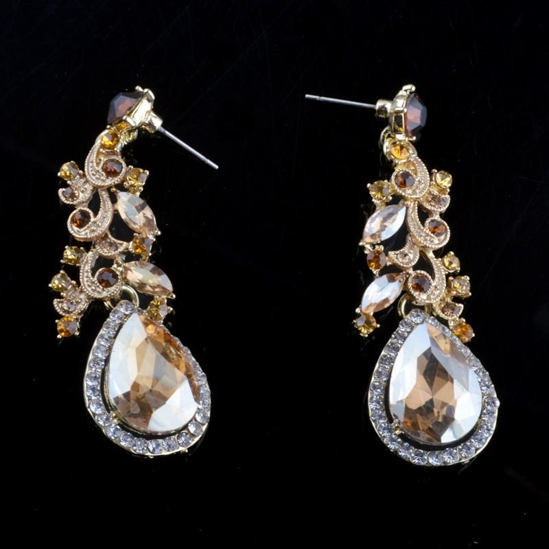 Индия Новый кристалл Ожерелье наборы свадебные свадьба Ювелирные наборы горный хрусталь топаз цвет Шампанское горный хрусталь Платье Аксессуары