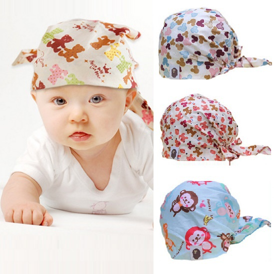 1 pcs/lot Fashion baby hats kids caps Infant pirate cap/Cotton lovely elastic skullies boys' & girls' beanies/1-2 Years old/ATs(China (Mainland))