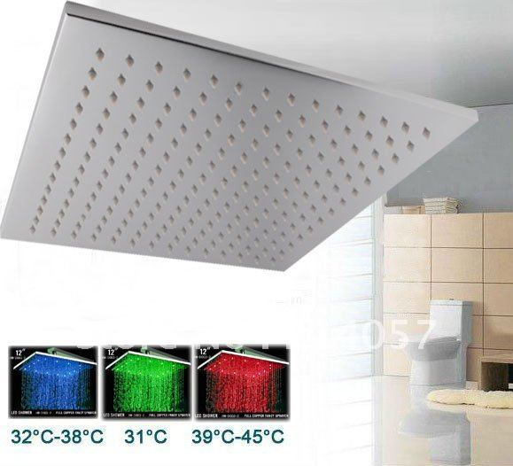 12 inches brass square hydro power led shower head - rainshower Store store