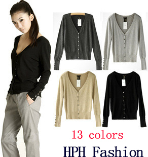 2014 Fashion Womens Ladies Long Sleeve Shell Button V Neck Casual Jumper Knitwear Cardigan Sweater Tops Coat 13 colors WF-228 - HPH Clothing Store store
