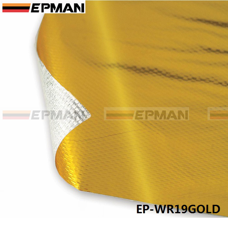 "EPMAN 39"" x 47"" SELF ADHESIVE REFLECT A GOLD HEAT WRAP BARRIER FOR THERMAL RACING ENGINE EXHAUST AIR INTAKE EP-WR19GOLD(China (Mainland))"