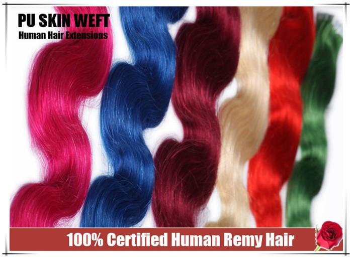 наращивание волос кожи утка человека ленты с Пу лентой тела волны 20 шт., 20-24» Реми волосы, apliques cabelo humano com Фита adesiva