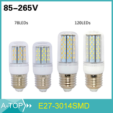 A-TOP Brand LED Lights E27 3014 Led Lamps 85-265V 110V 220V 9W 12W Corn Led Bulb 78 120Leds SMD Chandelier Lighting 1PCS/Lot(China (Mainland))