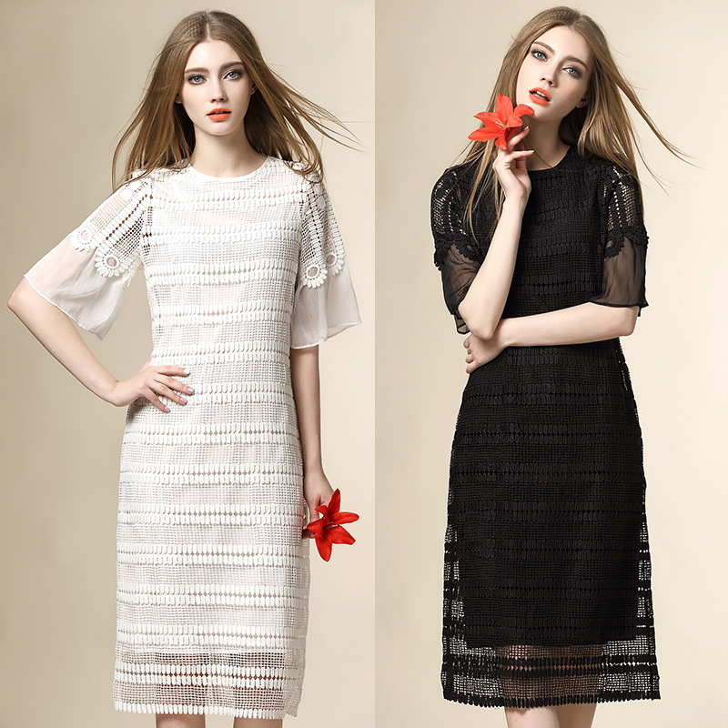 White dress new 2016 sprig dress short sleeve O neck runway brand straight long women dress high end robe femme
