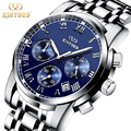 Famous Brand Kinyued Men Watch Metal Band Stainless Steel Quartz Watches Luminous Waterproof Calendar Mens Wristwatch
