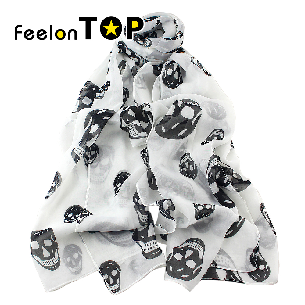 Girl's Fashion New Coming Colorful Skull Pattern Noble Ladies Multipurpose Silk Antique Style Scarf Shawl(China (Mainland))