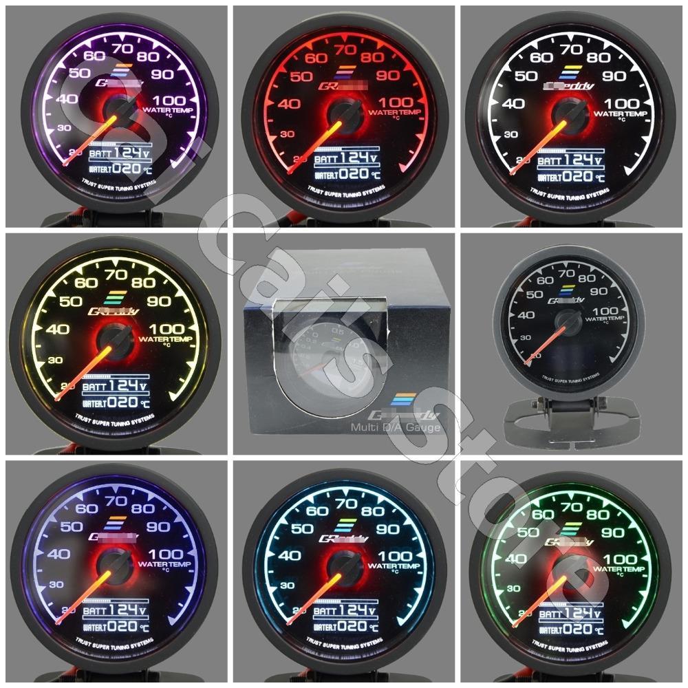 GRe**y Gauge GReddi Water Temp Gauge 7 Light Colors LCD Display With Voltage Meter Racing Gauge 62mm 2.5 Inch With Sensor(China (Mainland))