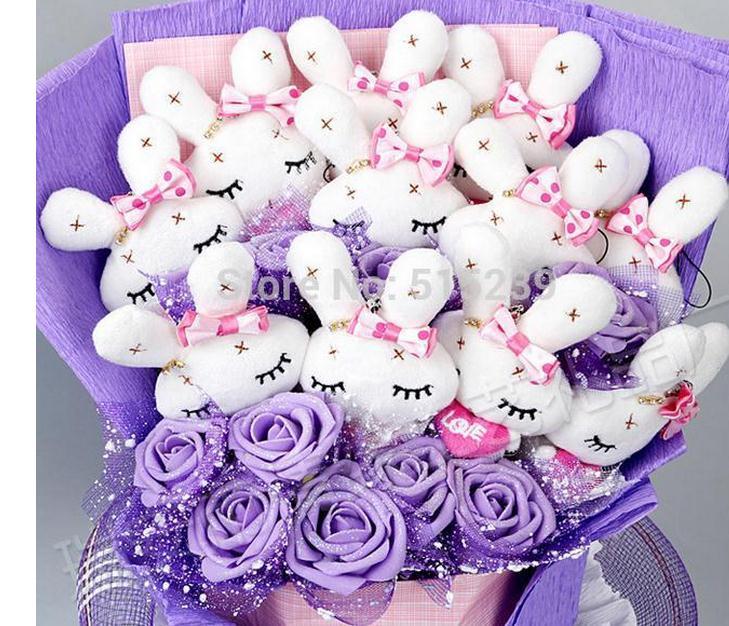 drop shipping LOVE rabbit doll cartoon bouquet , Valentine Gift, Festival Bouquet, birthday gift. 74 - flower store