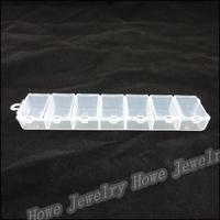 Wholesale Hot Portable 7 Lattice Transparent Plastic Box Grids Jewelry Storage Box  Makeup  Jewelry Box