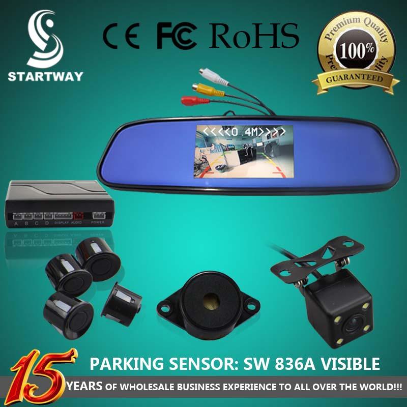 "Car Parking Sensor with 4.3"" LCD Back View Mirror Visible Monitor + Rear View Camera + BiBi Sound Alert SW836APV(China (Mainland))"