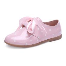 סתיו 2019 בנות מבריק עור סרט תחרה עד אוקספורד פעוט/קטן/גדול ילד מנוקדת אחיד בית ספר דירות ילדים שמלת נעליים(China)