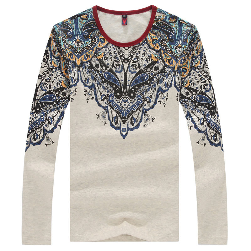 2015 New Mens Long Sleeved T-Shirts Retro Ethnic Style Fashion Casual Slim Fit T Shirt Tees Plus Size:S~5XL T204 - firefox store