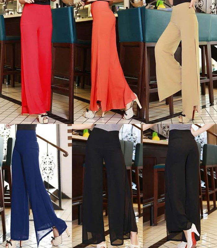 2015 summer women casual high waist side Split wide leg chiffon baggy pants Ladies Loose Palazzo trousers hip hop disco pant - Women's fashion clothing store