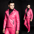 XS 5XL 2016 Fashion stage costume ds dj slim for halley motorcycle neon rose leather clothing